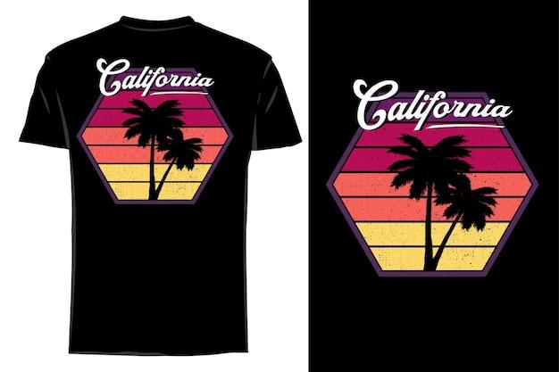 Silhueta de camiseta de maquete california twin palm retro vintage