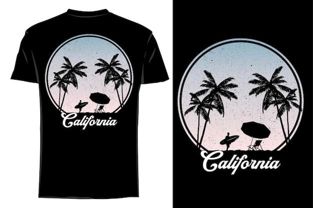 Silhueta de camiseta de maquete califórnia verão retrô vintage