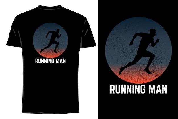 Silhueta de camiseta de maquete correndo homem retrô vintage