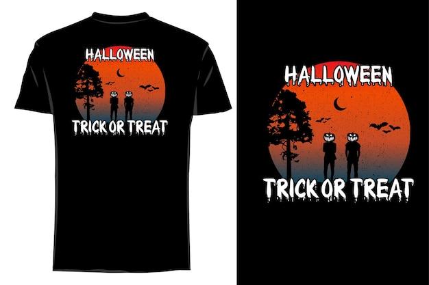 Silhueta de camiseta de maquete de halloween doce ou travessura retrô vintage