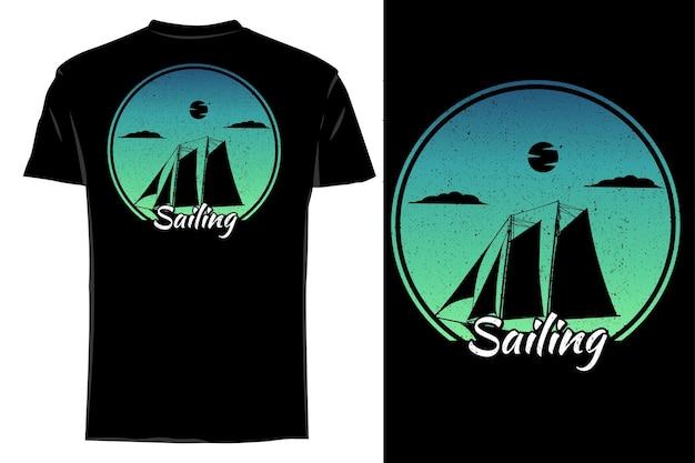 Silhueta de camiseta de maquete velejando retrô vintage