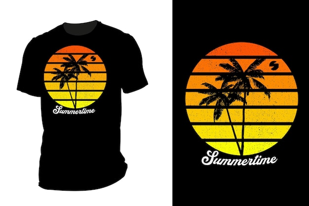 Silhueta de camiseta de maquete verão retrô vintage