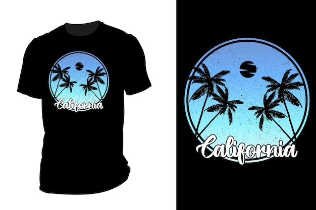 Silhueta de camiseta de maquete vintage retrô da califórnia