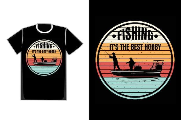 Silhueta de camiseta de pesca estilo retro vintage