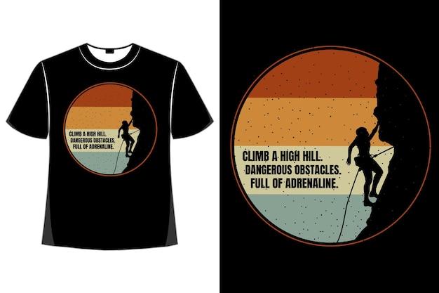 Silhueta de camiseta escalada colina retro estilo vintage
