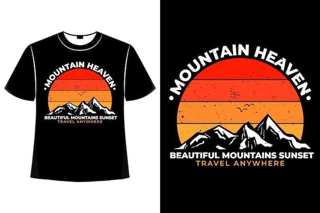 Silhueta de camiseta montanha céu pôr do sol retrô