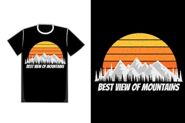 Silhueta de camiseta pinheiro da montanha pôr do sol vintage