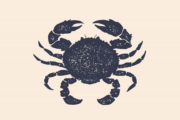 Silhueta de caranguejo. mão de conceito desenhada. silhueta negra