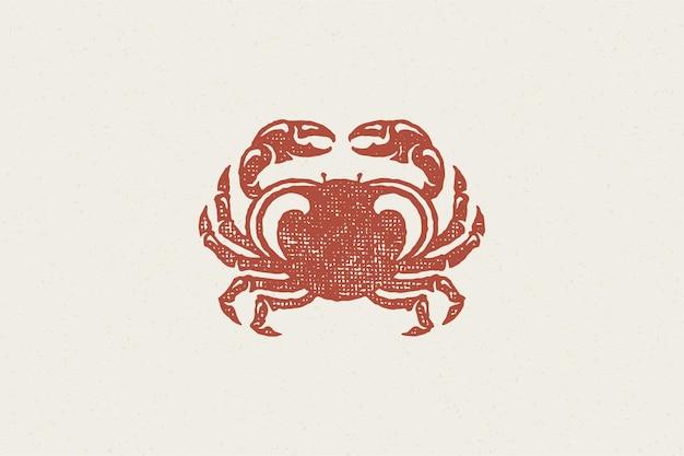 Silhueta de caranguejo para logotipo e design de emblema ilustração vetorial de efeito de carimbo desenhado à mão