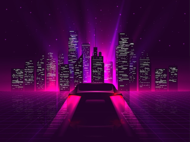 Silhueta de carro esporte traseiro com néon brilhantes luzes traseiras vermelhas andando em alta velocidade à noite com a paisagem urbana no fundo. outrun ou estética retro futurista de onda de vapor.