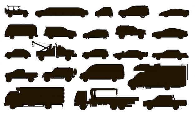 Silhueta de carros. tipo de automóveis. ônibus isolado, motorhome, van, caminhão de reboque, sedan, táxi, limusine, coleção de ícone plana de veículo suv carro. conjunto de modelos de silhueta de transporte automóvel urbano