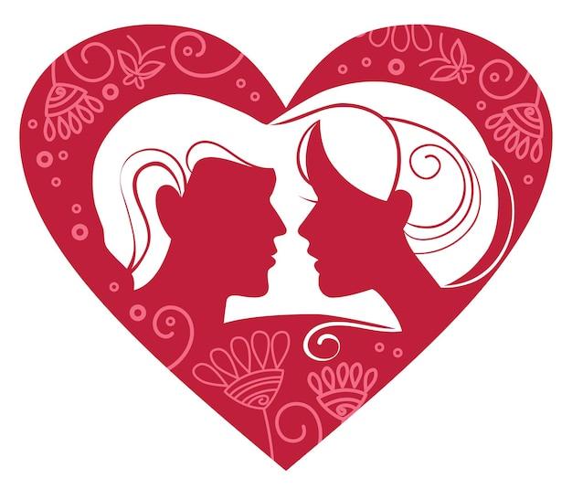 Silhueta de casal em um coração floral