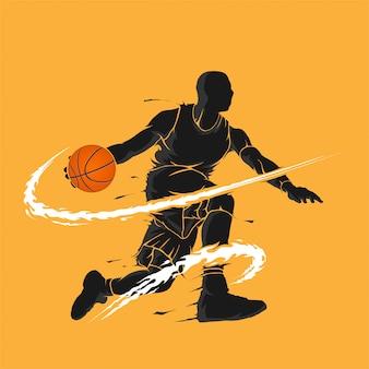 Silhueta de chama escura de drible de basquete