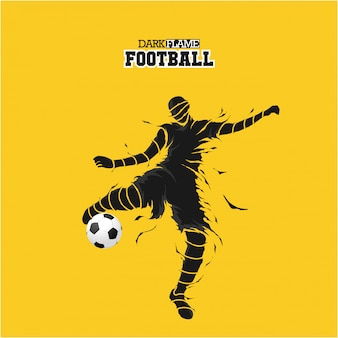 Silhueta de chamas escuras de futebol