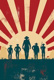 Silhueta de cinco cowboys caminhando para a frente, sinal vintage