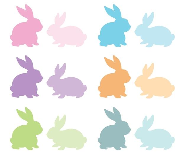 Silhueta de coelho colorido