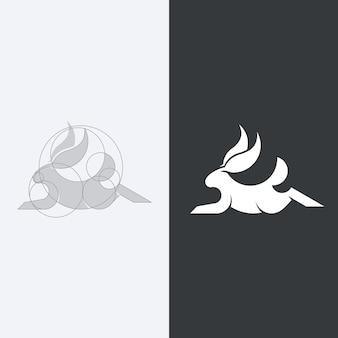 Silhueta de coelho em preto e branco