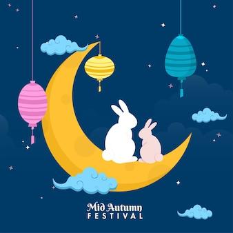 Silhueta de coelhos sentado na lua crescente com nuvens e lanternas penduradas decorado com fundo azul para celebração do festival de outono meados.