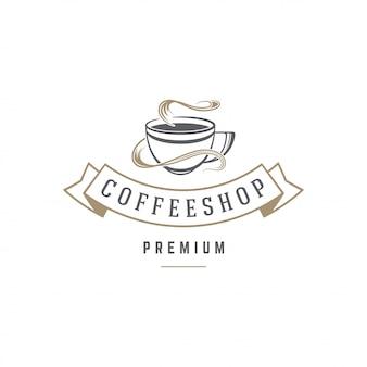 Silhueta de copa do modelo de emblema de café ou chá loja com ilustração em vetor tipografia retrô