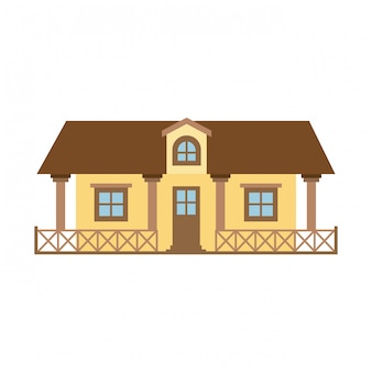 Silhueta de cor clara da casa de campo com corrimão e sótão