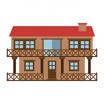 Silhueta de cor clara da casa de fachada de dois andares com varanda e chaminé