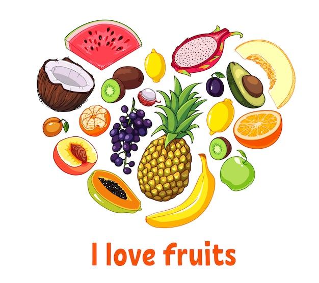 Silhueta de coração isolado feita de frutas.