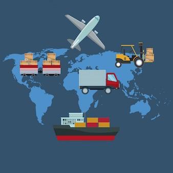 Silhueta de cores fundo do mapa mundial com ícones veículos de transporte de logística