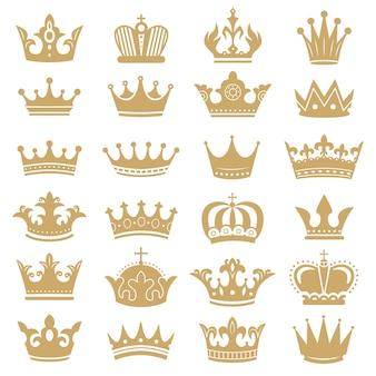 Silhueta de coroa de ouro. coroas reais, rei da coroação e conjunto de ícones de silhuetas de tiara rainha de luxo