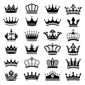Silhueta de coroa real. coroas de rei, coroa majestosa e conjunto de silhuetas de tiara de luxo