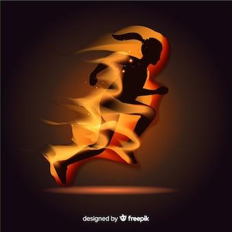 Silhueta de corredor em design plano de chamas