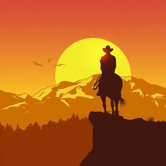 Silhueta de cowboy solitário cavalgando ao pôr do sol, ilustração vetorial