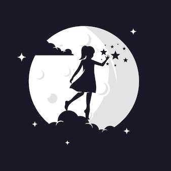 Silhueta de criança alcançando estrelas contra a lua