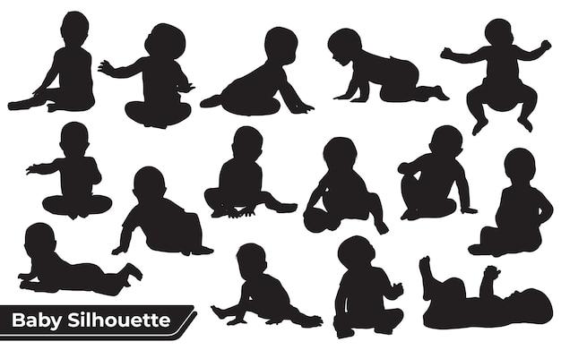 Silhueta de criança e bebê
