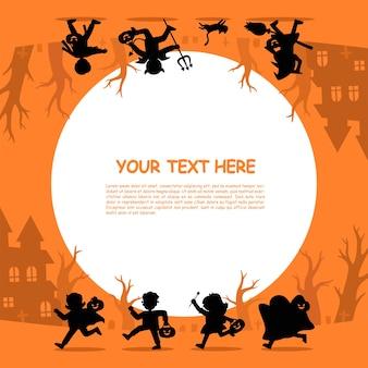 Silhueta de crianças em fantasias de halloween para ir truques ou travessuras. modelo para folheto de publicidade. feliz dia das bruxas.