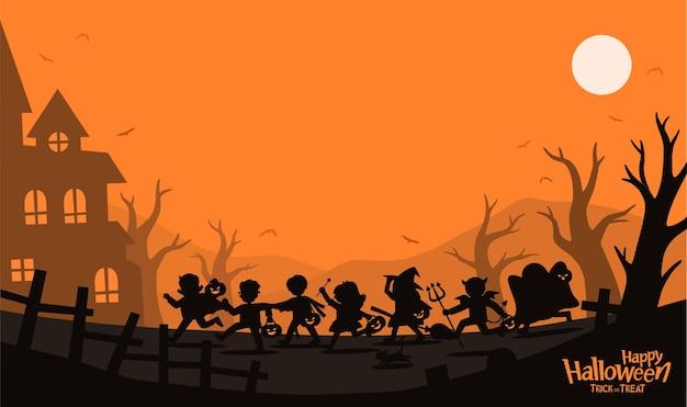 Silhueta de crianças em fantasias de halloween