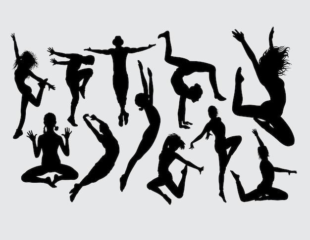 Silhueta de dança aeróbica atraente