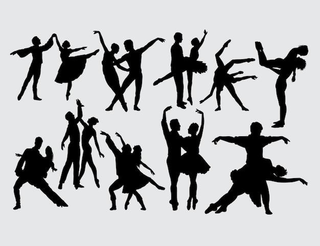 Silhueta de dançarinos de casal romântico de bailarina