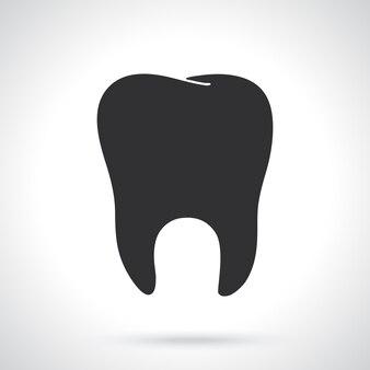 Silhueta de dente humano símbolo de higiene bucal