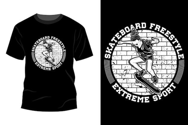 Silhueta de design de maquete de t-shirt de esporte radical estilo livre de skate