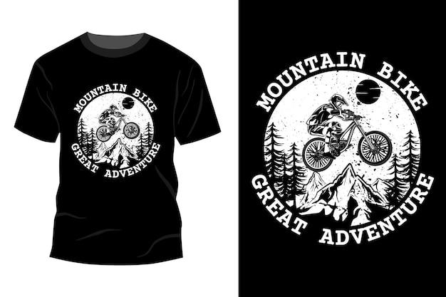 Silhueta de design de maquete de t-shirt de grande aventura de mountain bike
