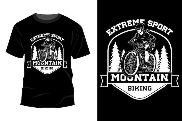 Silhueta de design de maquete de t-shirt de mountain bike de esporte radical
