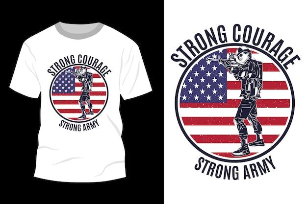 Silhueta de design de maquete de t-shirt do exército forte coragem forte