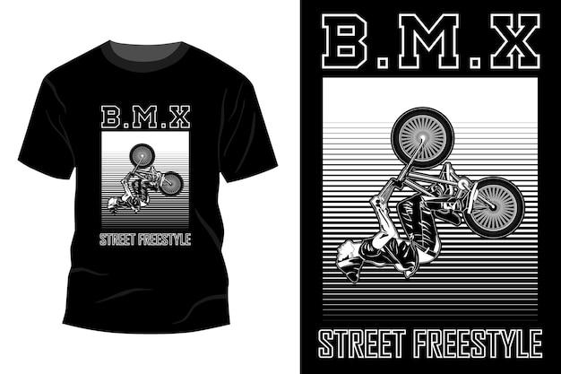 Silhueta de design de maquete de t-shirt estilo livre de rua bmx