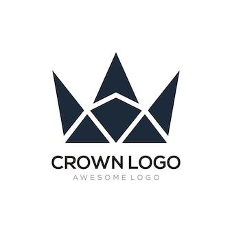 Silhueta de design do logotipo abstrato da coroa