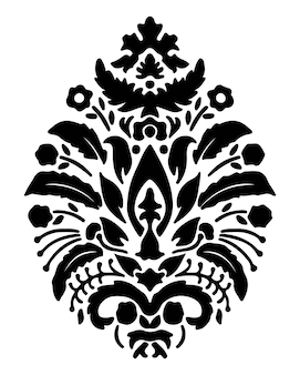 Silhueta de design floral de damasco de vetor de flores