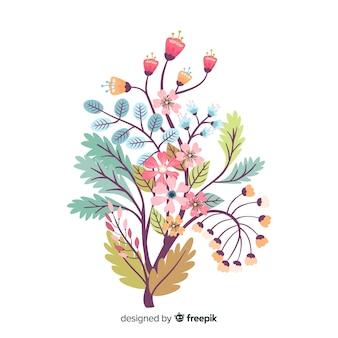 Silhueta de design plano de flores sobre fundo branco