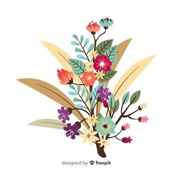 Silhueta de design plano de flores