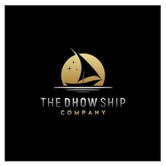 Silhueta, de, dhow, tradicional, sailboat, logotipo