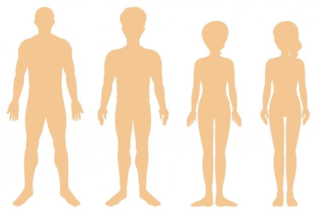 Silhueta de diferentes humanos