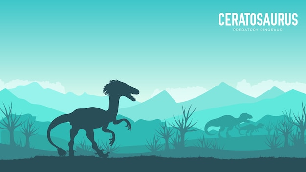 Silhueta de dinossauro ceratosaurus em seu fundo de habitat. criatura pré-histórica da selva na natureza